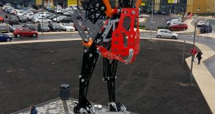 Liver bird made from Meccano in Liverpool